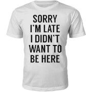 T-Junkie Mens Sorry Im Late Slogan T-Shirt - White - S Crafted from 100% soft Cotton this regular fit T-Shirt has a stylised print on the front, a crew neck and short sleeves. http://www.MightGet.com/march-2017-1/t-junkie-mens-sorry-im-late-slogan-t-shirt--white--s.asp