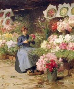 ⊰ Posing with Posies ⊱ paintings of women and flowers - Victor Gabriel Gilbert | Flower Seller Behind The Madelaine Church