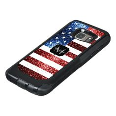 USA flag red and blue sparkles glitters Monogram OtterBox Samsung Galaxy S7 Case -  Personalize with your initial and name. Trendy OtterBox phone case:   USA flag in red and blue faux sparkles &... #custom #USA Americana themed  #gift #otterbox design by #PLdesign - #otterbox #glimmer #americanflag #redwhiteandblue #redandbluesparkles #usaflagsparkles #glitter #sparkle #starsandstripes #redandblueglitter #sparkles #redsparkles #fashion #sparkly #usaflag #unitedstates #usaflagglitter…