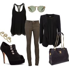 Black + Brown, created by kate-burns on Polyvore