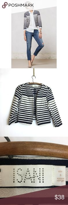 "Anthropologie Isani Cropped Maritime Jacket Anthropologie Isani Cropped Maritime Jacket  Size 6 Length: 19"" Chest: 18"" armpit to armpit  By Isani. Hook-and-eye closure Super cute textured striped cotton-blend cropped jacket from Isani (Anthropologie). Hook and eye closure. Perfect condition. Great fabric!!! Anthropologie Jackets & Coats Blazers"