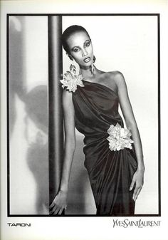 Iman for Yves Saint Laurent, by David Bailey, 1980