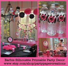 Barbie Birthday Party Printable Decor - Barbie Silhouette Party Decorations - DIY Tablescape