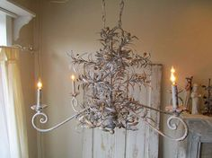 Large olive branch metal chandelier painted by AnitaSperoDesign