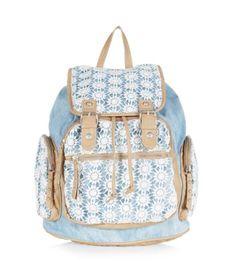 Light Blue Daisy Crochet Panel Denim Backpack