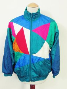 Vintage Crazy Pattern Angular Triangle Rave Shellsuit Tracksuit Top Jacket M