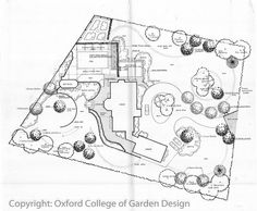 Country garden site Plan with sweeping drive, organic (existing) patio, Swimming pool