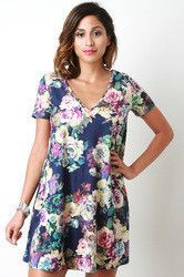 Suede Floral Print V Neck Tee Shirt Dress