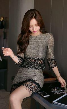 花瓣 Sexy Dresses, Cute Dresses, Short Dresses, Blouse Dress, Lace Dress, Fashion Outfits, Womens Fashion, Asian Fashion, Special Occasion Dresses