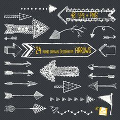 Chalkboard Arrow Clip Art- Hand Drawn- EPS + PNG- ideal design resource for web and blog, photo overlay, stamps, DIY projects