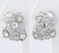 Talisman I white gold cluster earrings