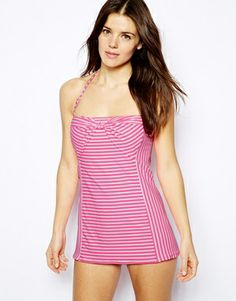 Coco Rave Stripe Knotted Bandeau Swimdress