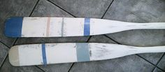 painted wooden oars (ASCP Old White, Greek Blue and Duck Egg Blue)