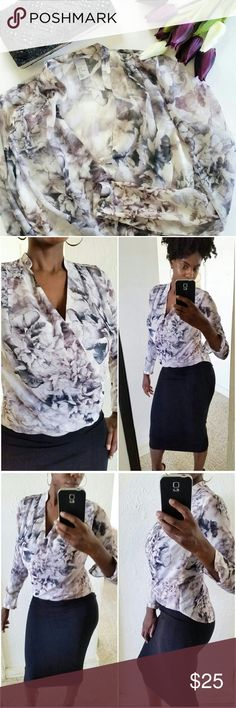 🔴SALE! H&M Printed Blouse Reg price $20  Beautiful blouse with black, gray, ivory, and purplish floral print. Wrap front style with lining on the front of the blouse. The arms and back are sheer. Size 2. Worn once. Brand new condition. H&M Tops Blouses