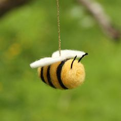 Bumble Bee - Needle Felted Ornament. $10.00, via Etsy.