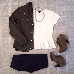 'Military Chic' - J. Crew field jacket, white peplum top, dark rinse skinny jeans, crystal necklace; White Mountain booties
