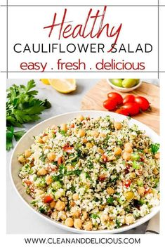 This cauliflower salad is riced cauliflower florets combined with veggies and garbanzo beans and tossed with a light lemon vinaigrette. A low carb side dish that's packed full of fresh flavors! Healthy Summer Recipes, Healthy Gluten Free Recipes, Healthy Dishes, Vegetarian Recipes, Healthy Meals, Keto Recipes, Riced Cauliflower, Cauliflower Recipes