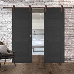 Barn Style Sliding Doors – Page 15 Internal Sliding Doors, Barn Style Sliding Doors, Sliding Door Track, Sliding Door Systems, Door Stays, Black Doors, Diy Barn Door, Traditional Interior, Atelier