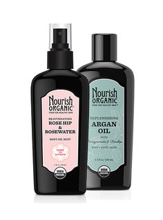 Rosehip & Argan Oil Duo  Rosehip Oil & Argan Oil  The best of our body oils, together. The Rejuvenating Rose Hip & Rosewater Body Oil Mist balances skin, improving texture and tone. Use it as an all-over body moisturizer, after-sun skin soother, or anti-aging body treatment. The multitasking Replenishing Argan Oil is packed with essential fatty acids, vitamins, and antioxidants to soften dry skin, reduce the appearance of fine lines, and help seal split ends. A $40 value.