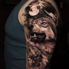 42 Ideas Two Wolf Tattoo Sleeve 2020 Wolf Tattoo Shoulder, Wolf Tattoo Forearm, Cool Forearm Tattoos, Body Art Tattoos, Cool Tattoos, Tattoo Ink, Tatoos, Wolf Tattoos Men, Native Tattoos