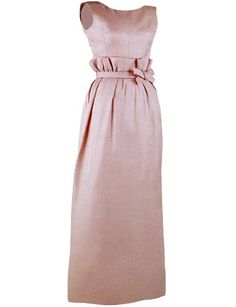 Mauve silk gazar evening gown, by Oleg Cassini, American, 1963. This dress was modeled after a spring 1962 dress by an Italian designer, Federico Forquet.  FIrst Lady Jacqueline Kennedy wore this dress to a State Dinner honoring the grand duchess of Luxembourg.