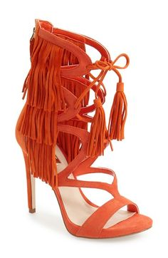 GUESS 'Abria Fringe' Cage Sandal (Women) available at #Nordstrom