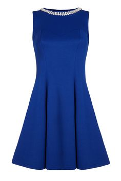 Iska London - Embellished Neck Dress in Blue