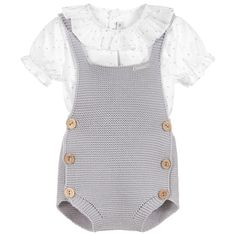Paloma de la O Grey 2 Piece Baby Shorts Set. Shop from an exclusive selection of designer Outfit Sets