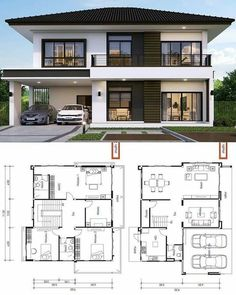 Modern Bungalow House, Bungalow House Plans, 2 Storey House Design, Bungalow House Design, Beautiful House Plans, Small Modern House Plans, House Plans Mansion, Dream House Plans, House Design Pictures