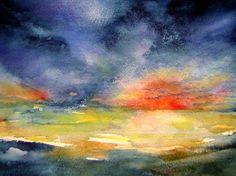 Art: watercolour: ...last evening glow...hommage à Emil NO… | Flickr