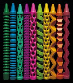 Pete Goldlust's carved crayons are just the eye-pleasing aesthetic antidote I need today. So clean and graphic, stunning stuff.