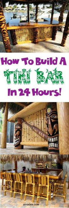 The best DIY projects & DIY ideas and tutorials: sewing, paper craft, DIY. DIY Furniture Plans & Tutorials : How To Build A Tiki Bar In 24 Hours – Learn Your Way To Awesome -Read Pool Bar, Bar Patio, Backyard Bar, Tiki Hut, Décor Tiki, Diy Bar, Bars Tiki, Diy Außenbar, Tikki Bar