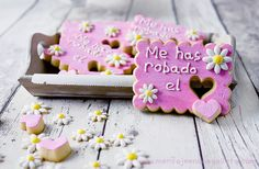 """you've stolen my heart"" cookie with cut out heart, and mini hearts beside"