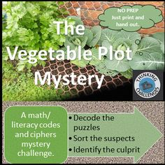 A no prep code and ciphers mystery. Just print and hand out.Gardening is a lot like painting a picture. It is not the size of the picture that matters, its the creating of it. The students at Maitland School have been creating and tending their one meter vegetable mini garden since the start of spring in the build up to the School Gardens Competition but disaster has struck with nothing to be seen except muddy footprints.