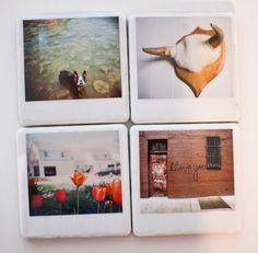 polaroid coasters! so cool!