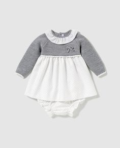 Baby Girl Dress Sweater in Gray Knitted Baby Clothes, Trendy Baby Clothes, Cute Girl Outfits, Kids Outfits, Stella Mae, Diy Clothing, Girls Shopping, Baby Knitting, Baby Dress