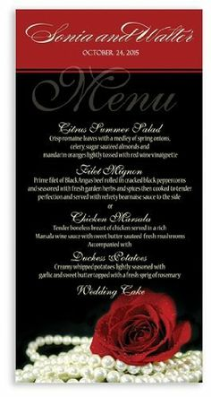 235 Wedding Menu Cards - Material Girl by WeddingPaperMasters.com. $145.70. Now you can have it all! We have created, at incredible prices & outstanding quality, more than 300 gorgeous collections consisting of over 6000 beautiful pieces that are perfectly coordinated together to capture your vision without compromise. No more mixing and matching or having to compromise your look. We can provide you with one piece or an entire collection in a one stop shopping exper...