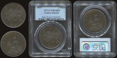 "2 obols (1819) with ""seated Britannia"" in copper. In slab by PCGS ""PR 64 BN"" (Hellas I.18) Brilliant Uncirculated & Prooflike"