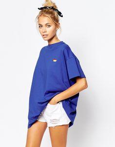 Image 1 ofLazy Oaf Oversized T-Shirt With Tiny Hotdog Print