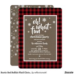 Rustic Red Buffalo Plaid Christmas Party Invitation Fun, classic red and black buffalo plaid and kraft paper for these lovely Christmas party invitations ❤ Affiliate ad link. Invitations, greetings and products for Christmas / the holiday season. Ward Christmas Party, Office Christmas Party, Plaid Christmas, Xmas Party, Christmas Themes, Holiday Parties, Christmas Bachelorette Party, Xmas Theme, Country Christmas