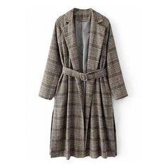 ee1a9f7ca588 Gray Plaid Lapel Buckle Waist Wool Longline Coat (3.000 RUB) ❤ liked on  Polyvore
