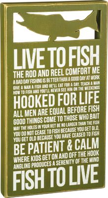Item # 29807 | Box Sign - Live To Fish | Primitives by Kathy