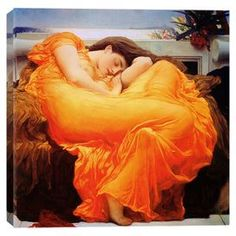 Print of Frederick Leighton's Flaming June on canvas.  Product: Wall artConstruction Material: Cotton canvas and woodFeatures: Flaming June by Frederick Leighton