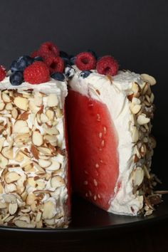 Pin for Later: Naturally Sweet Summer Recipes Featuring Fresh Fruit Watermelon Cake Much healthier than regular cake, this watermelon cake is covered with whipped cream, almonds, and fresh berries. Healthy Desserts, Just Desserts, Delicious Desserts, Yummy Food, Holiday Desserts, Holiday Baking, Healthy Recipes, Fruit Recipes, Dessert Recipes