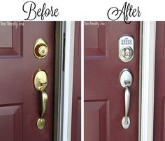 Door Makeover: Chelsea at Two Twenty One, gives her front door a keyless makeover with a Schlage Keypad Handleset in Satin Nickel. #curbappeal #doordecor