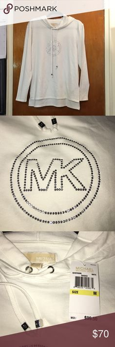 Michael Kors White Sweatshirt White Michael Kors Sweatshirt, Silver tone MK Logo, New With Tags. Style# QU45F6G0L. Michael Kors Tops Sweatshirts & Hoodies
