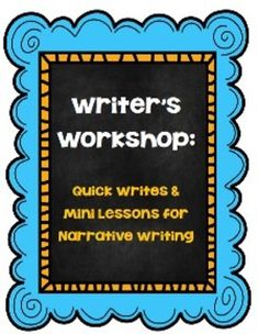 This unit provides 10 Literature Linked Quick Writes, 10 Mini-Lessons, and 10 Mini-Lesson Try-It Pages for your Writer's Workshop.  These mini-lessons are well suited for a narrative writing unit.    These lessons include: The Mysteries of Harris Burdick– A mini-lesson on titles Verdi– A mini-lesson on descriptive leads One Potato, Two Potato– A mini-lesson on dialogue Math Curse– A mini-lesson on  sentence length The Boy Who Was Raised in a Library– A mini-lesson on time  progression ...