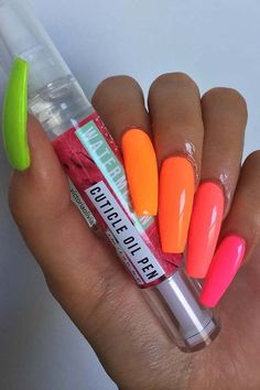 23 Colorful Nail Art Designs That Scream Summer Pink, Orange and Yellow Neon Nails Summer Acrylic Nails, Cute Acrylic Nails, Cute Nails, Summer Nails Neon, Acrylic Nails Orange, Acrylic Nail Designs For Summer, Smart Nails, Acrylic Gel, Clear Acrylic