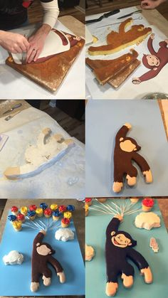 Curious George birthday cake. cutout. marshmallow fondant.