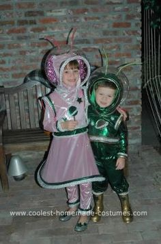 Homemade Alien Costumes: These alien costumes were made from a Simplicity pattern. Both costumes were made from liquid lame fabric which is stretchy and comfortable. The helmets
